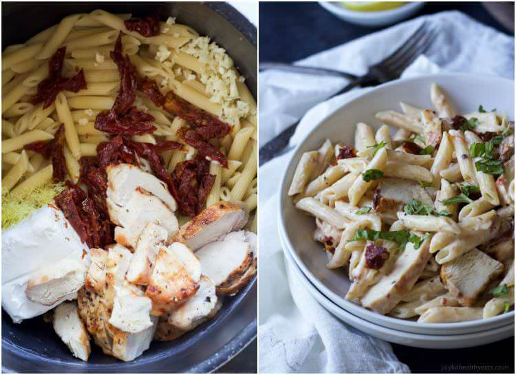 Creamy Lemon Chicken Pasta filled with fresh lemon flavor, grilled chicken, and sun dried tomatoes - only 30 minutes to make!