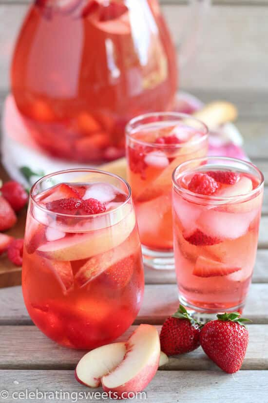 peach sangria in glasses