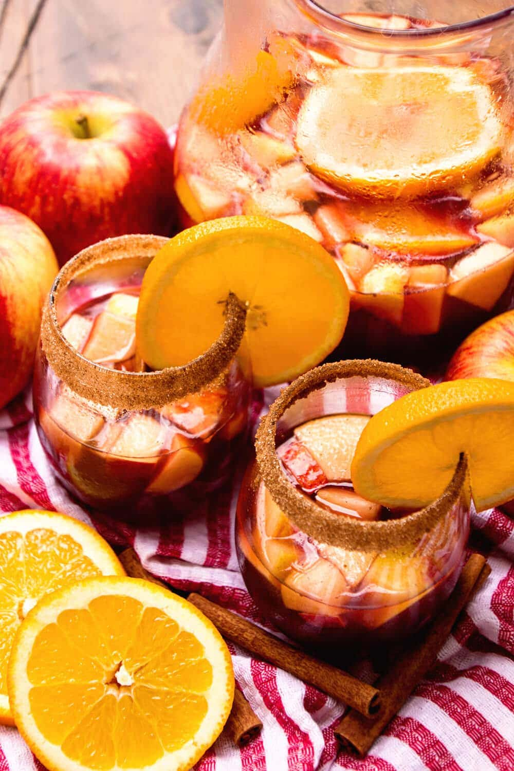 Red Apple Sangria Recipe ~ Delicious Red Spritzer with Cinnamon, Apple Cider, Brandy, Apples and Oranges! Crisp and Refreshing Drink!