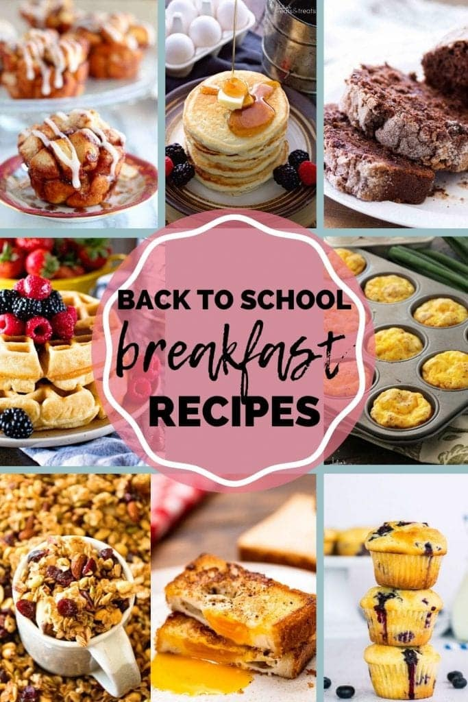 Back to School Breakfast Recipes Pin Image with a collage of images and text overlay of title in middle