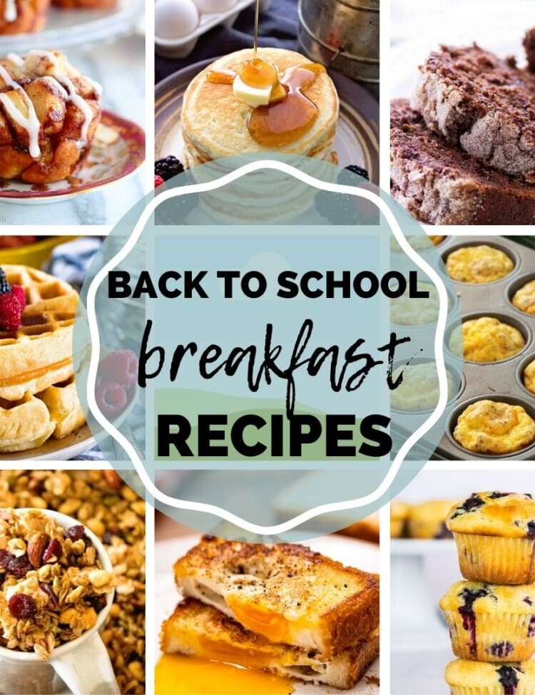 Square Collage Image of photos for Back to School Recipes with text overlay of title in middle