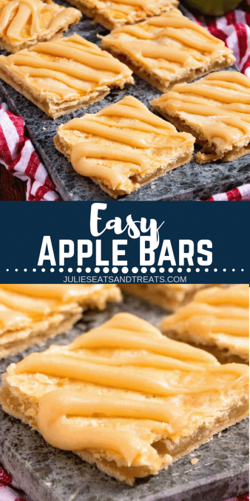Collage with top image of prepared apple bars on a tray, middle banner with text reading easy apple bars, and bottom image up close of an apple bar with frosting