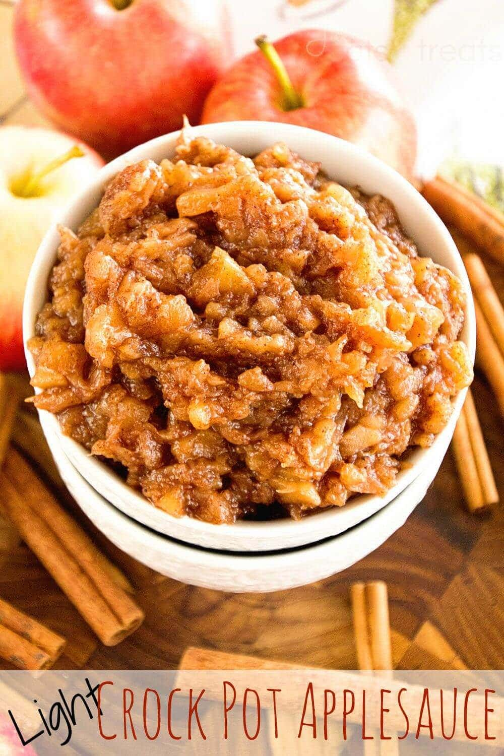 Light Crock Pot Applesauce Recipe ~ Delicious, Easy Applesauce that is slow cooked! Loaded with all the flavors of fall!