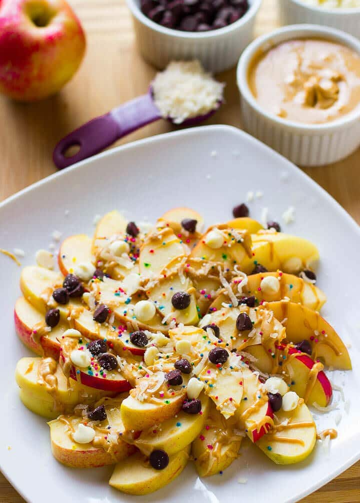 Loaded Apple Nachos Recipe ~ Easy to make, delicious and crisp and a great quick dessert! Loaded with Peanut Butter, White Chocolate, Chocolate Chips & Coconut!