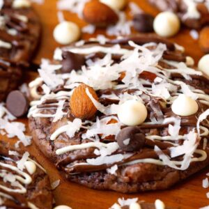 Almond Joy Cookies Recipe ~ Start with a box of Brownie Mix! The perfect mix of coconut, nuttiness and chocolate just like an Almond Joy Candy Bar!