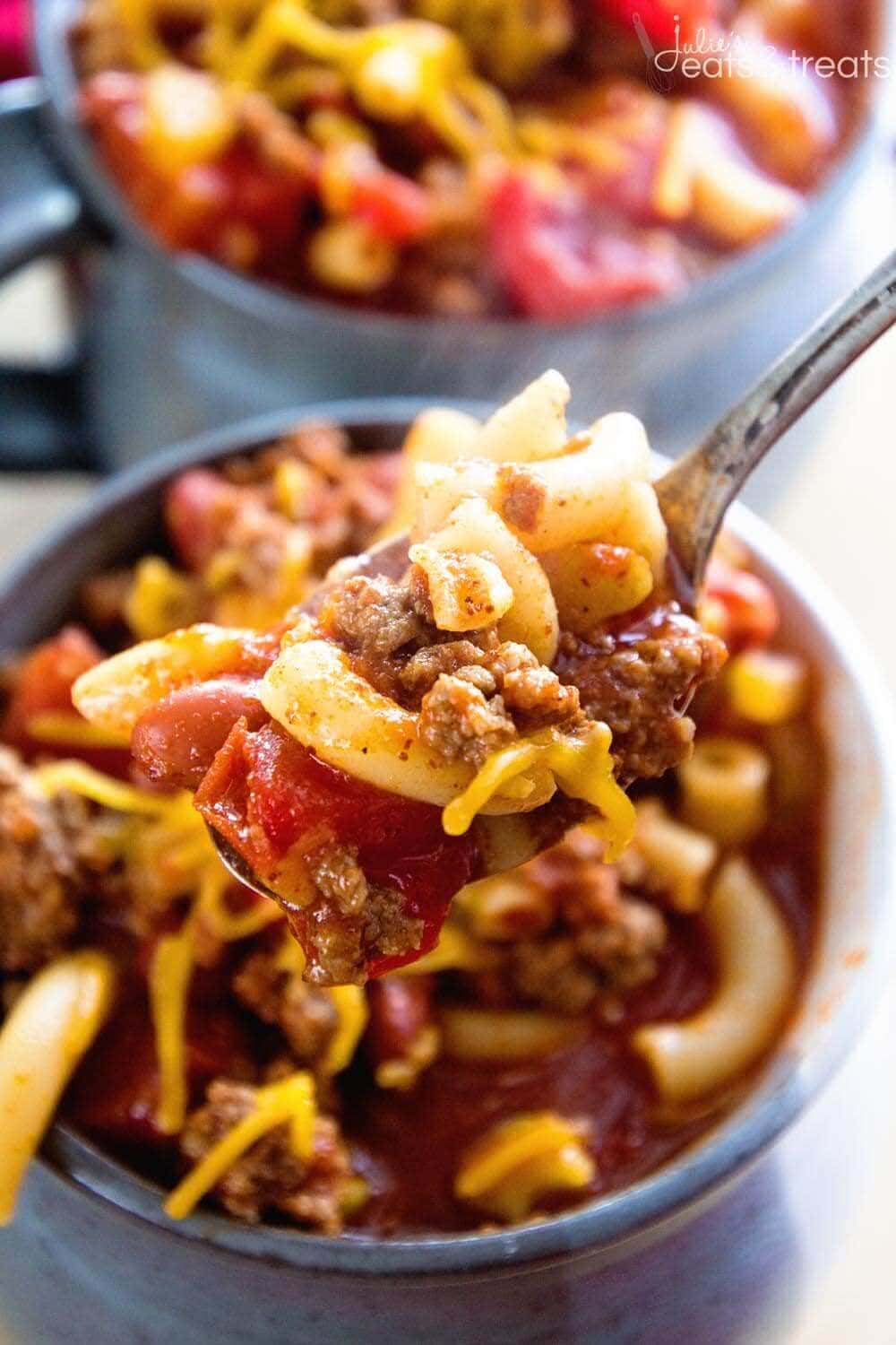 Two servings of Chili Mac recipes with Chili Mac on Spoon.