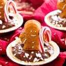 Gingerbread PEEPS® Mint Pudding Pies Recipe ~ Delicious, Creamy Chocolate Pudding Pies Loaded with Candy Canes, Graham Cracker Crust and PEEPS® Gingerbread-Flavored Marshmallow Gingerbread Men!
