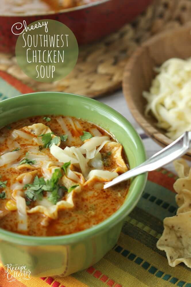 Cheesy Southwest Chicken Soup - A completely comforting soup filled with onions, peppers, black beans, corn, and finished off with a little cream to give it that extra little something.