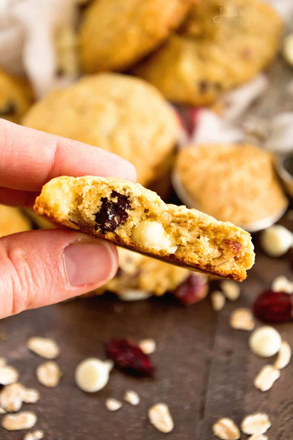 Oatmeal Cranberry White Chocolate Chip Cookies Recipe - Julie's ...