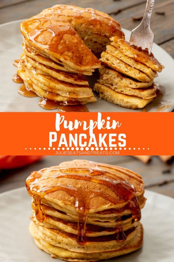 Collage with top image of a large bite of pancakes on a fork, middle banner with text reading pumpkin pancakes, and bottom image of a tall stack of pumpkin pancakes covered in syrup