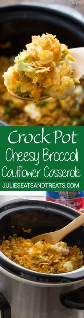 Crock Pot Cauliflower Broccoli Casserole Recipe ~ The Perfect Side Dish Recipe in your Slow Cooker! Broccoli and Cauliflower Smothered in Cheese and Topped with Corn Flakes!
