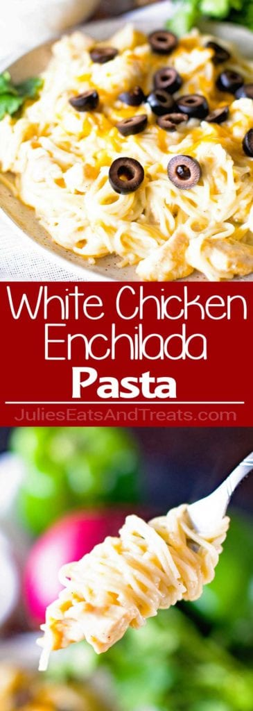 White Chicken Enchilada Pasta Recipe ~ A Pasta Recipe Loaded with the Flavors of White Chicken Enchiladas like Green Chiles, Black Olives, a little sour cream, and melted jack che