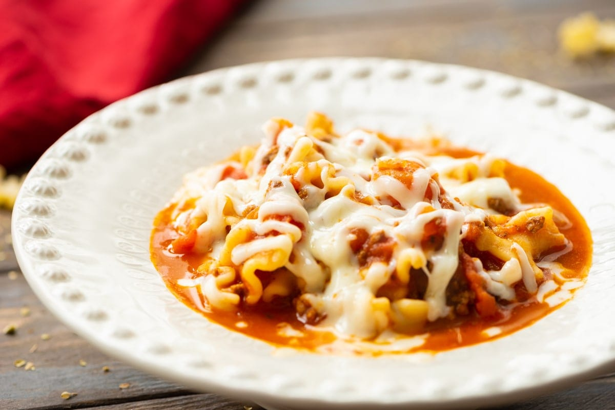 Lasagna Soup in white bowl