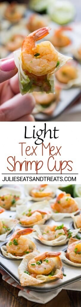 Light Tex Mex Shrimp Bites Recipe ~ Perfect Holiday Appetizer! Crunchy Wonton Shells Stuffed with Pico de Gallo, Guacamole, and Shrimp! Plus, it's a Light Appetizer So You Won't Feel Guilty!