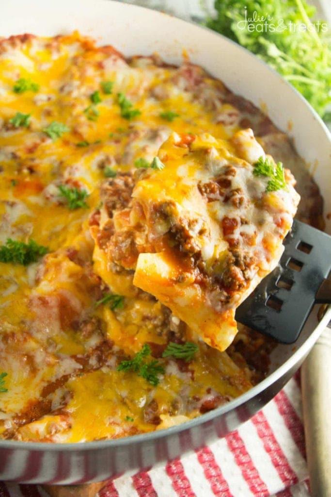 Piece of easy lasagna in skillet