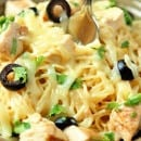 White Chicken Enchilada Pasta - A delicious pasta filled with all the wonderful flavor of white chicken enchiladas with the help of green chilies, a little sour cream, and melted jack cheese.