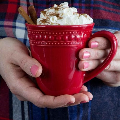 A women in a blue and red plaid shirt holding a red mug of easy eggnog latte with whipped cream, ground cinnamon and cinnamon sticks