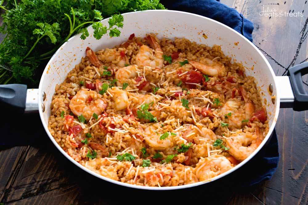 Recipe: Weeknight Skillet Shrimp With big flavors from an easy pan sauce, shrimp can go from frozen to dinner in about 10 minutes. It's a lifesaver for quick dinners, with leftover brown rice.