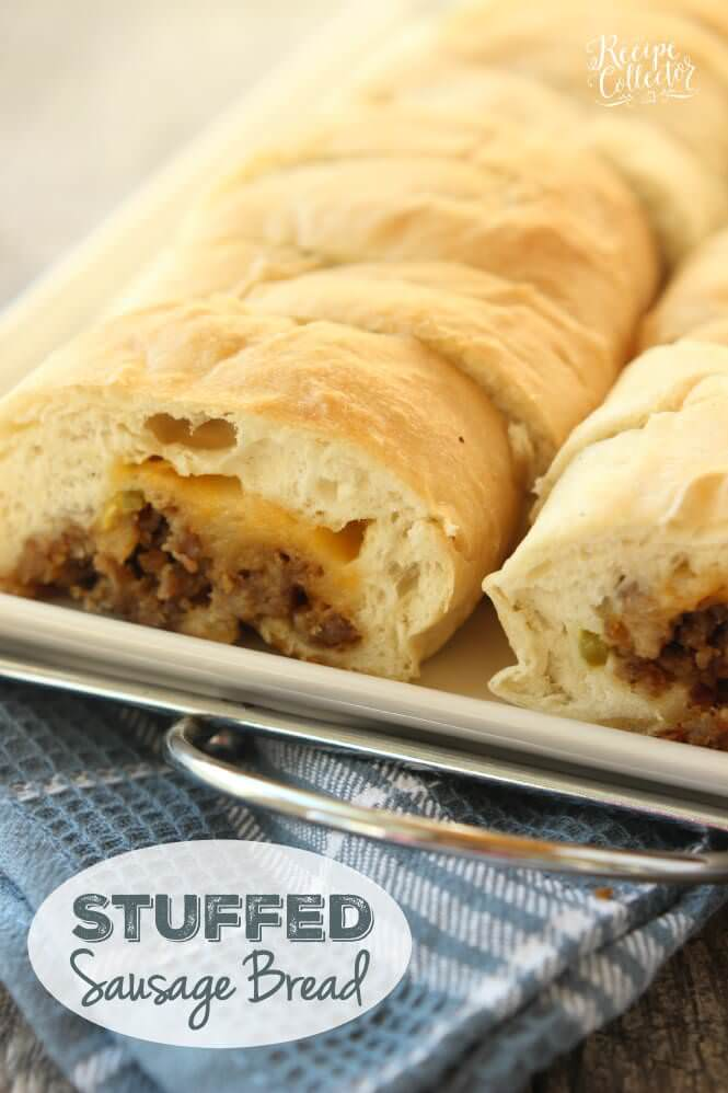 Stuffed Sausage Bread – This is an appetizer that is such a crowd-pleaser! It starts with frozen bread dough and is filled with breakfast sausage, cheese, and jalapenos. Everyone LOVES it!
