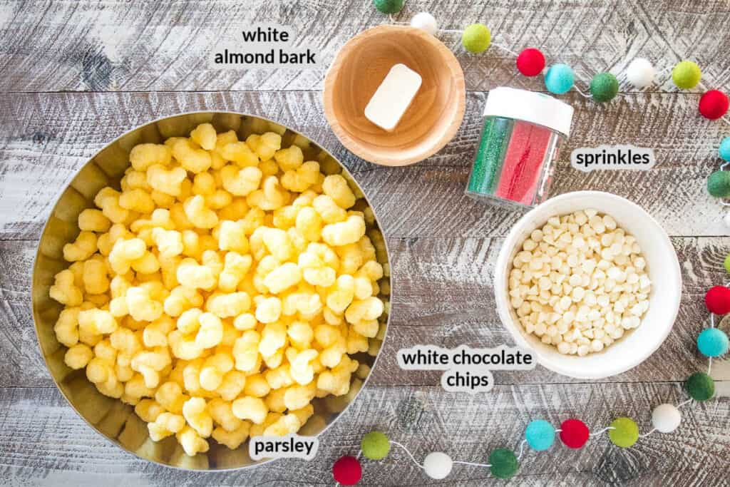Overhead image of White Chocolate Puffcorn Ingredients