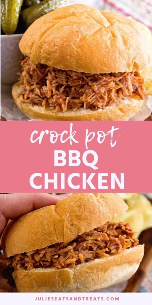 Collage with top image of bbq chicken on a bun, middle pink banner with white text reading crock pot bbq chicken, and bottom image of a hand holding bbq chicken sandwich