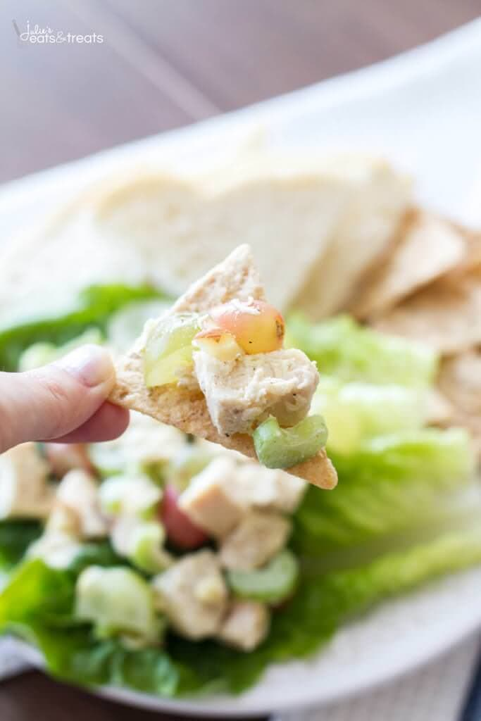 This quick and easy chicken salad recipe is low-calorie, can be made ahead of time, and perfect on a sandwich or as an appetizer!