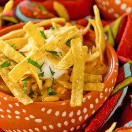 Easy Chicken Tortilla Soup in Bowl