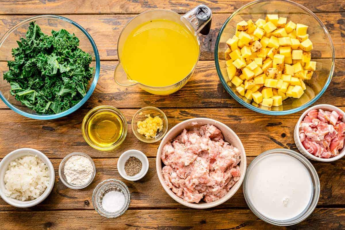 Overhead Image of Crock Pot Zuppa Toscana Ingredients
