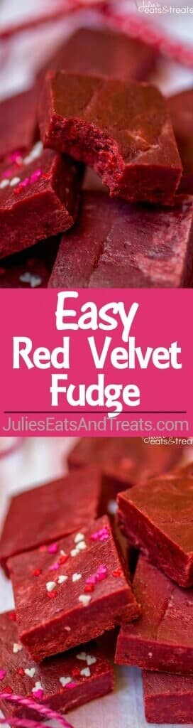 Red Velvet Fudge Recipe – This super easy fudge recipe comes together in minutes and melts in your mouth! It's the perfect addition to your Valentine's Day dessert spread.