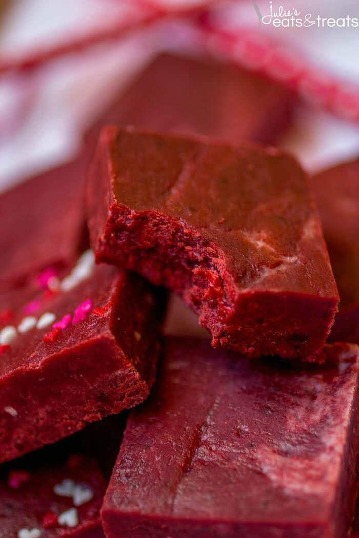 Red Velvet Fudge - This super easy fudge comes together in minutes and just melts in your mouth! It's the perfect addition to your Valentine's Day dessert spread.