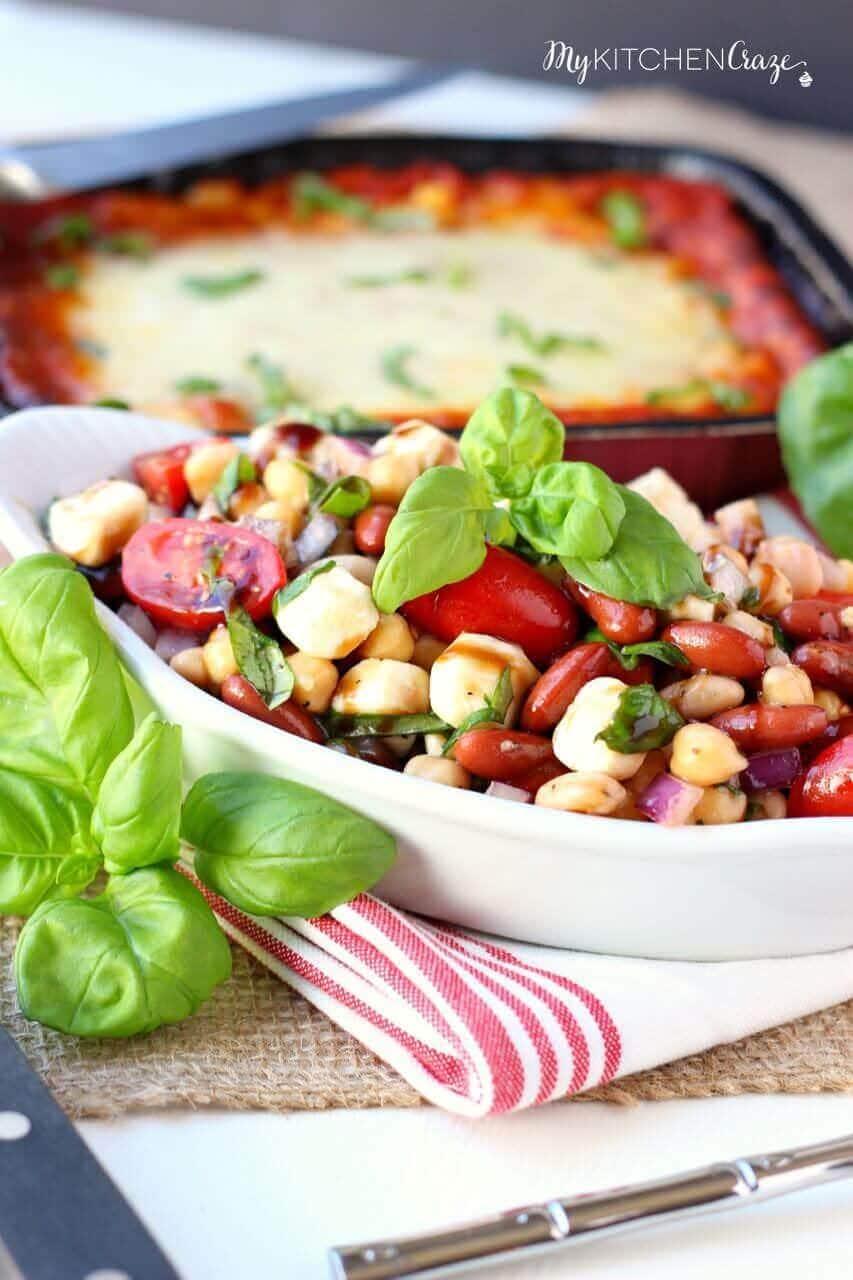 Three Bean Caprese Salad - mykitchencraze.com