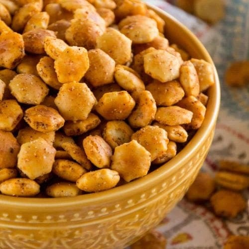 Yellow bowl of taco oyster crackers