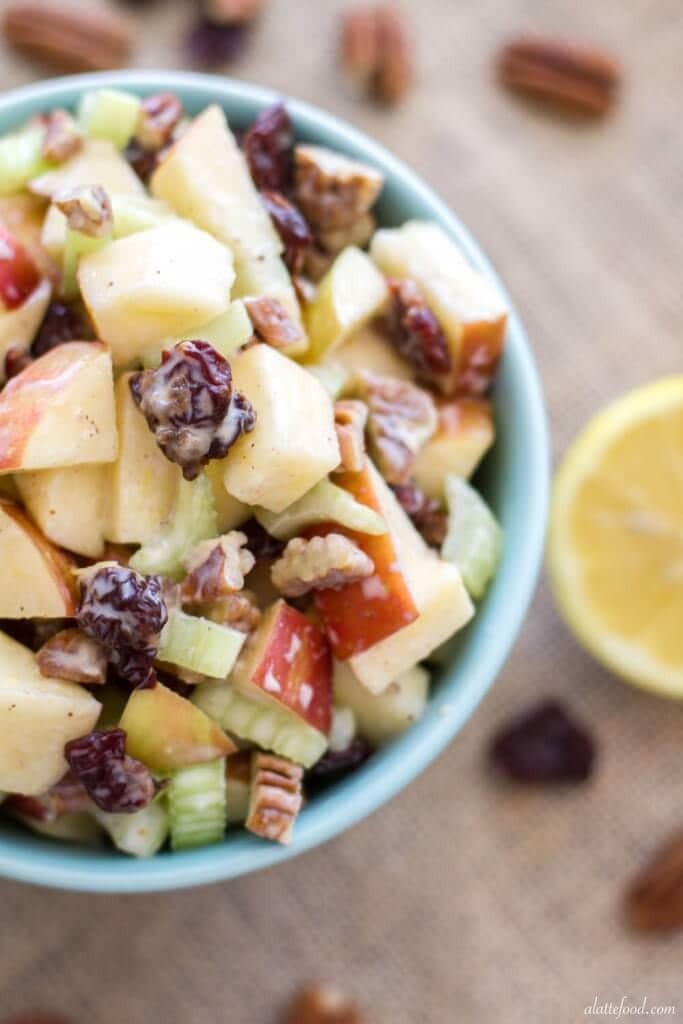 This spin on the classic Waldorf Salad uses Greek yogurt instead of mayonnaise, lemon juice, and a couple other additional ingredients to give it a fresh new flavor.