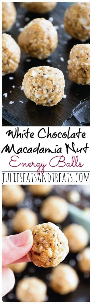 White Chocolate Macadamia Nut Energy Balls ~ Delicious Recipe for Energy Bites Loaded with White Chocolate Chips, Macadamia Nuts, Coconut, Oats, Flaxseed and Chia Seeds!
