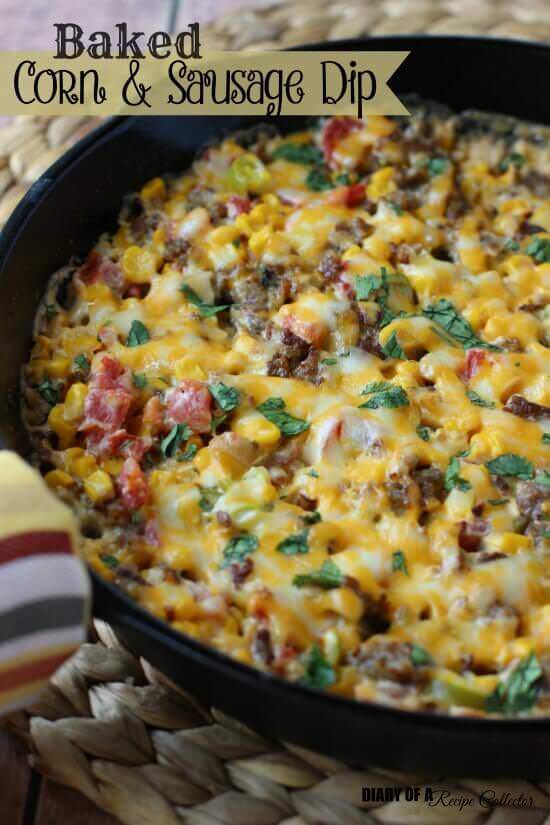 Baked Corn & Sausage Dip is an easy and hearty dip filled with breakfast sausage, corn, Rotel, and cream cheese. It's perfect for snacking no matter the occasion! Found on Diary of a Recipe Collector