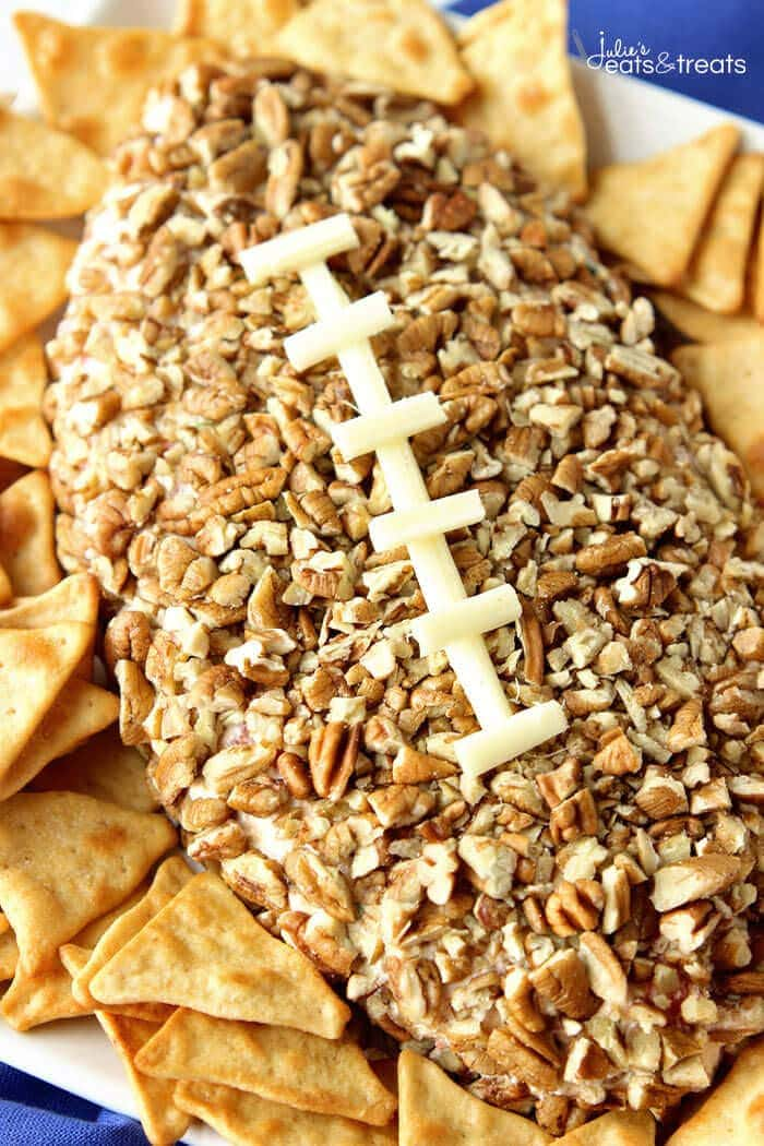 Football Cheese Ball - A fun appetizer recipe that is super easy and perfect for game day snacking!
