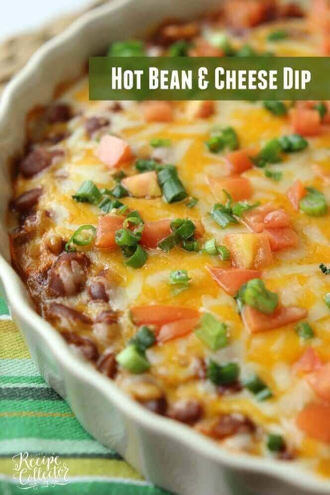 Hot Bean & Cheese Dip – A quick oven-baked dip made with cream cheese, chili beans, salsa, and melty cheese! Found on Diary of a Recipe Collector