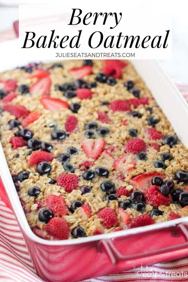 Berry baked oatmeal in a red pan