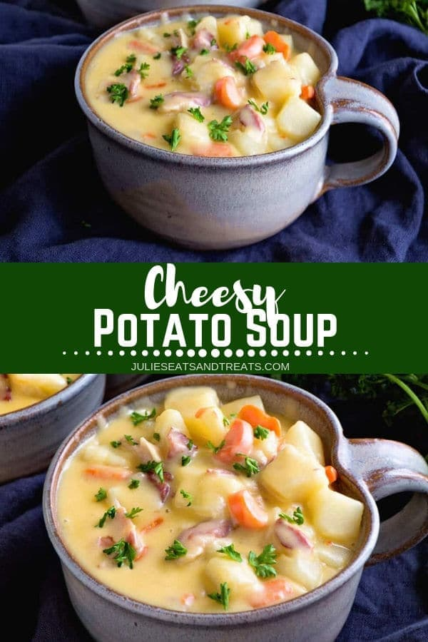 Collage with top image of cheesy potato soup in a grey bowl, middle banner with text reading cheesy potato soup, and bottom image overhead of cheesy potato soup
