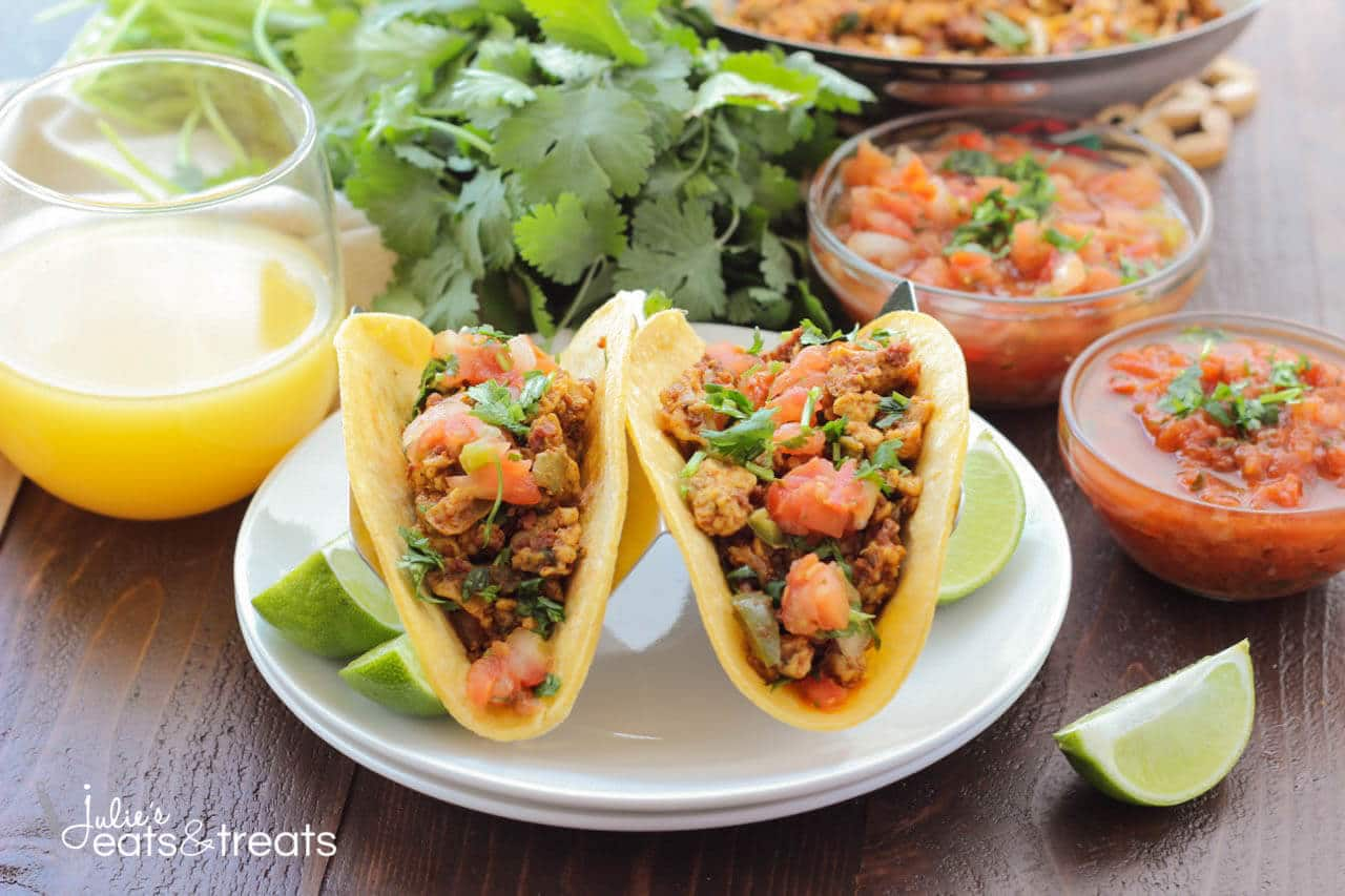 Chorizo Breakfast Tacos - Delicious breakfast tacos filled with scrambled eggs, vegetables, beans and chorizo. Sit down and enjoy some breakfast tacos with the family!
