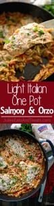 Light Italian One Pot Salmon & Orzo Recipe ~ Quick & Easy One Pot Pasta Dish That is Full of Flavor! Delicious Orzo Pasta, Flavorful Salmon Perfect for an Easy Dinner Recipe!