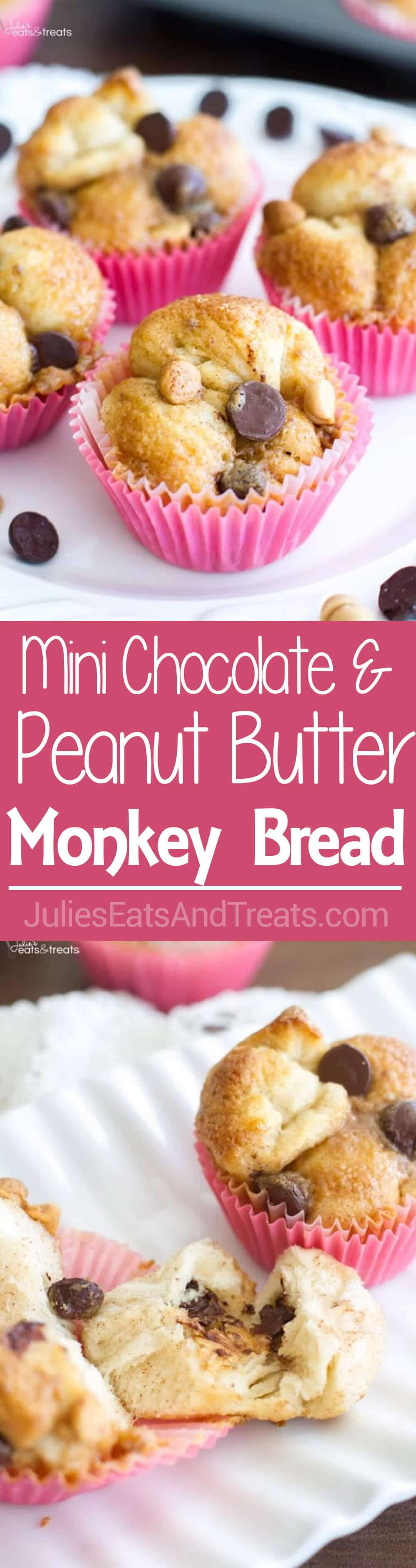 {Mini} Chocolate and Peanut Butter Monkey Bread Recipe ~ Quick and Easy Monkey Bread Recipe that uses Chocolate and Peanut Butter for a Fun Twist! A Perfect On-The-Go Breakfast!