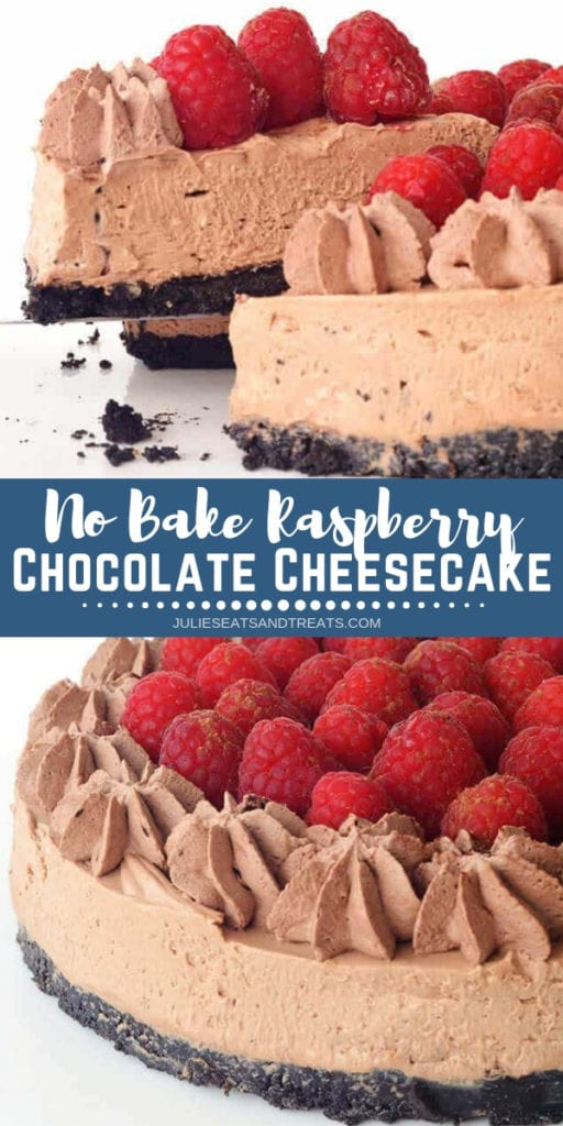 Collage with top image of a slice of chocolate cheesecake being lifted out of the whole cake, middle blue banner with white text reading no bake raspberry chocolate cheesecake, and bottom image of a whole chocolate cheesecake with raspberries