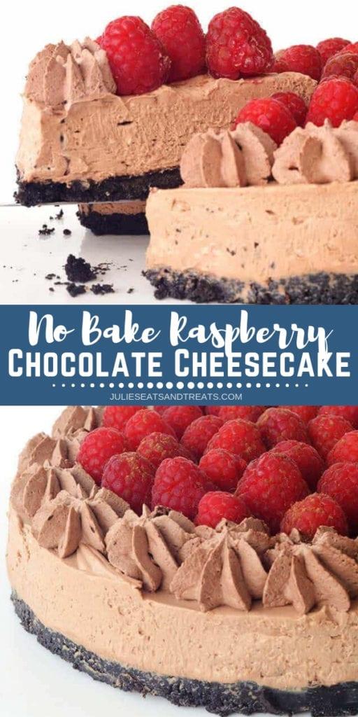 No Bake Chocolate Raspberry Cheesecake Pinterest collage