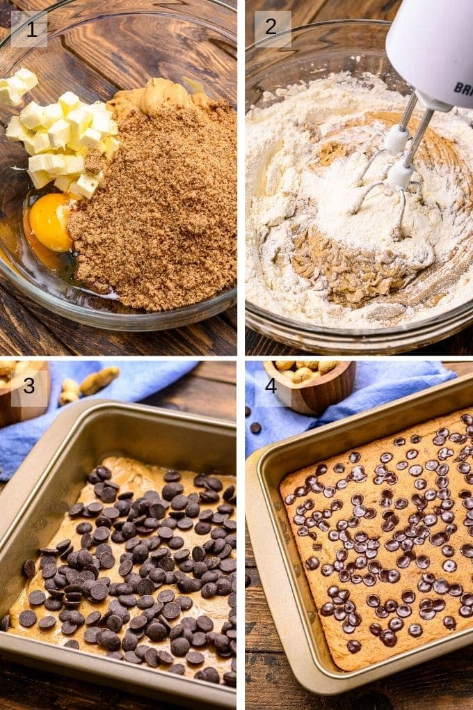 Collage of four images on steps to make bars mixing dough placing in pan