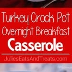 Turkey Crock Pot Breakfast Casserole ~ Wake Up to Breakfast Ready in the Morning! This Make Ahead Breakfast Casserole Recipe Cooks During the Night so You Can Enjoy Breakfast! Stuffed with Turkey Sausage, Hash Browns and Eggs!