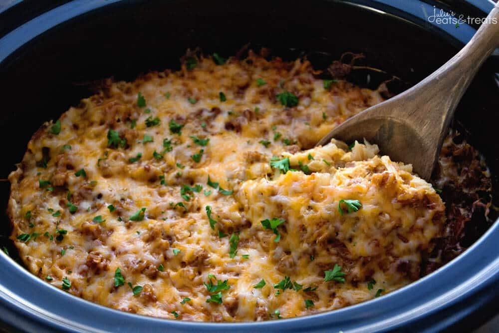 Crockpot breakfast casserole with turkey julie 39 s eats for Crock pot thanksgiving dessert recipes