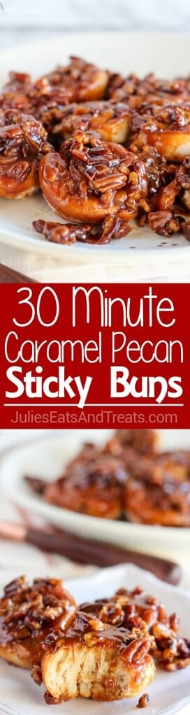 Easy 30 Minute Caramel Pecan Sticky Buns ~ Tender and gooey melt-in-your-mouth sticky buns topped with caramel sauce and chopped pecans. This easy recipe uses canned crescent roll dough and prepared caramel sauce!
