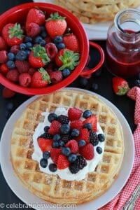Almond Waffles with Berries and Whipped Cream