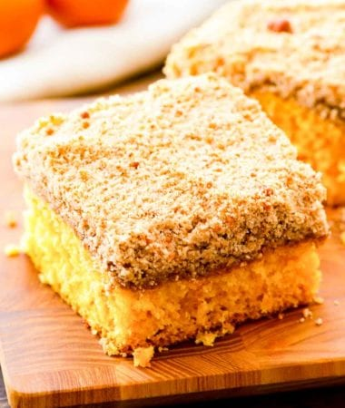 Piece of Crumb Cake on a cutting board